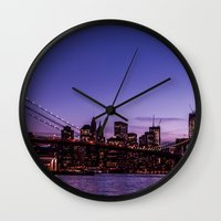 brooklyn bridge Wall Clocks featuring Brooklyn Bridge by hannes cmarits (hannes61)