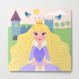 Fairy Tale Princess With Her Story Book Castle - Purple Dress Metal Print