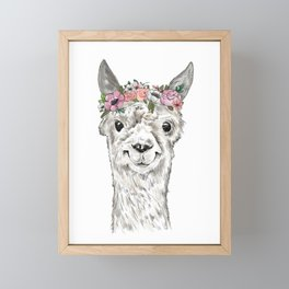 Lovely Llama, Llama Art, Llama Illustration, Boho Llama, Bohemian, Floral Crown, Hand Drawn Framed Mini Art Print