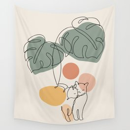 Cat and Plant 36 Wall Tapestry