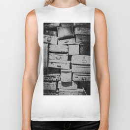 Suitcase Stack Black and White Biker Tank
