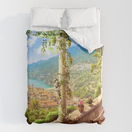 Magnificent Mediterranean Balcony Overseeing Seaside Ultra HD Comforters