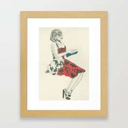 C in red dress Framed Art Print