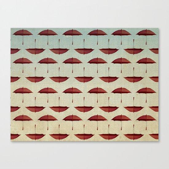 raining umbrellas pattern Canvas Print