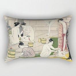 Interior of a Bathhouse by Torii Kiyonaga - Japanese Woodblock Rectangular Pillow