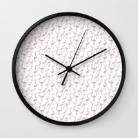 flamingos Wall Clocks featuring Flamingos by Abby Galloway