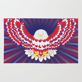 Blue red and white bald eagle Rug