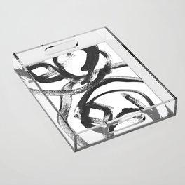 Interlock black and white paint swirls Acrylic Tray