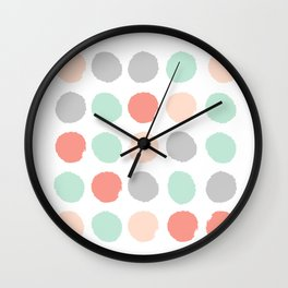 Painted minimal dots trendy gender neutral bright happy color palette nursery art Wall Clock