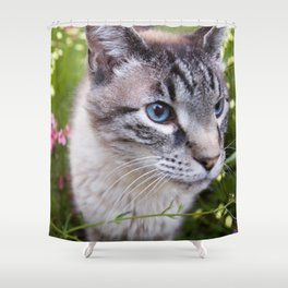 kitty in secret garden Shower Curtain