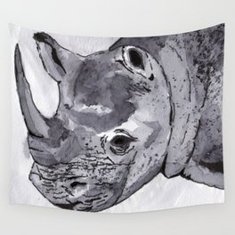 Rhino - Animal Series in Ink Wall Tapestry