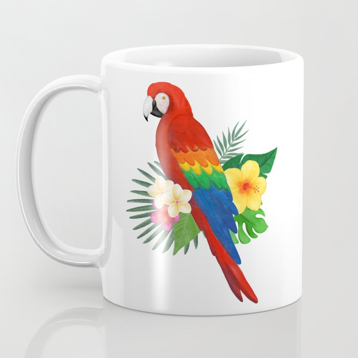 Tropical Macaw Floral Watercolor Coffee Mug