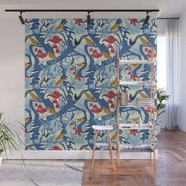North American Forest Pattern (Blues) Wall Mural