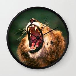 Roaring lion in Masai Mara Wall Clock