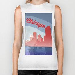 Chicago Skyline Travel Poster Biker Tank