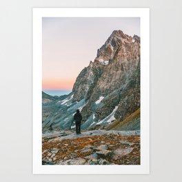sunset on the monviso Art Print