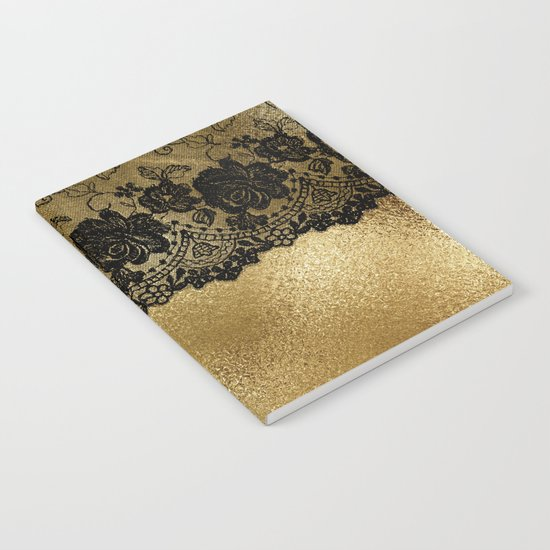 Black luxury lace on gold metal- Elegant design Notebook