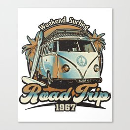 Camper Van Surfers Road Trip Canvas Print