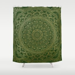 Mandala Royal - Green and Gold Shower Curtain