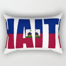 Haiti Font with Haitian Flag Rectangular Pillow