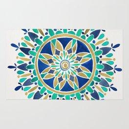 Mandala – Gold & Turquoise Rug