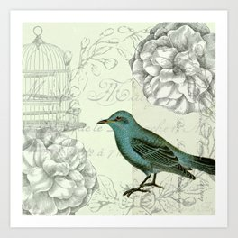 Collaged bird correspondence Art Print