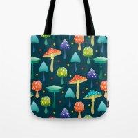 mushrooms Tote Bags featuring Mushrooms by Julia Badeeva