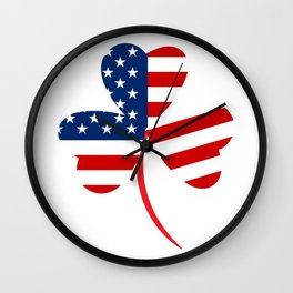 USA American Flag Of Shamrock St. Patrick's Day Irish Wall Clock