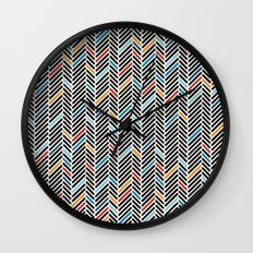 Herringbone Blue and Black #3 Wall Clock