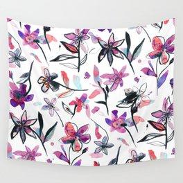 Ink flowers pattern - Viola Wall Tapestry