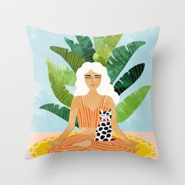 Meditation With Thy Cat #illustration #painting Throw Pillow