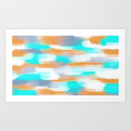 orange and blue painting abstract with white background Art Print