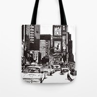 new york Tote Bags featuring New York New York by Bianca Green