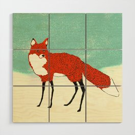 Fox in the snow, Kitsune, Vintage inspired illustration Wood Wall Art