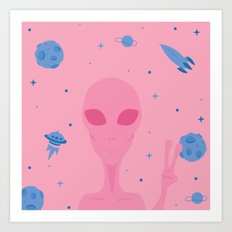 Pink Alien Comes in Peace Art Print