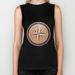 Wind rose drawn on a wooden surface Biker Tank
