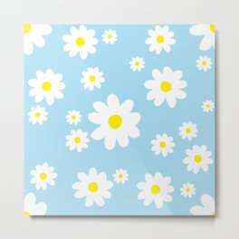 Spring Daisy Pattern Light Blue Metal Print