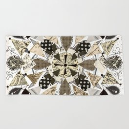 Black and White Mandala Beach Towel