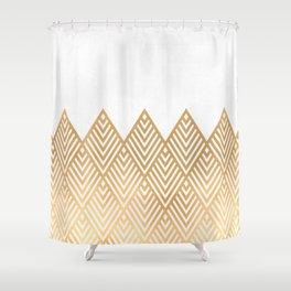 Geometric White & Gold Shower Curtain