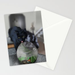 Black Kitty Cat with Fish in Fishbowl Stationery Cards