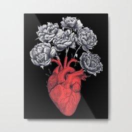 Heart with peonies on black Metal Print
