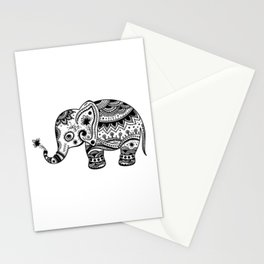 Cute Floral Elephant illustration In Black Stationery Cards