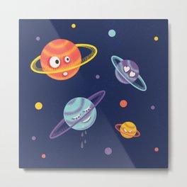 Cute Planets Cartoon Space Metal Print