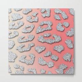 Silver Glitter Leopard Spots Pink & Beige Metal Print