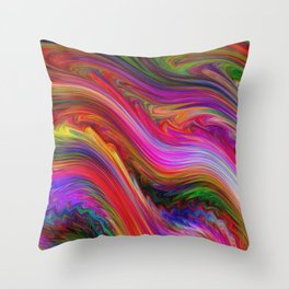Smeared Rainbow Throw Pillow