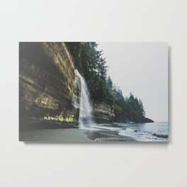 Waterfall into the Ocean Metal Print