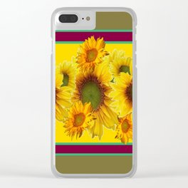 Olive Green Sunflowers Pattern Burgundy Color Floral Art Clear iPhone Case