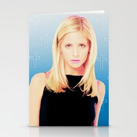 buffy the vampire slayer Stationery Cards featuring Buffy the Vampire Slayer, Cross by Your Friend Elle