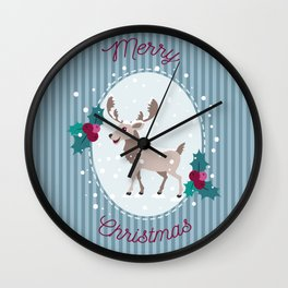 Merry Christmas - Moose and snow Wall Clock