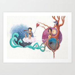 Boy on Cloud With Heart Balloon Leaving Girl and Penguin on Her Planet Art Print